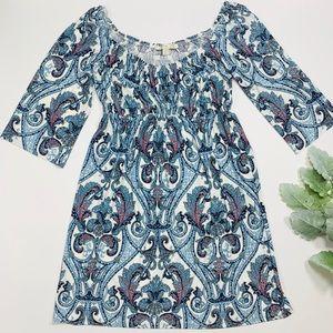 Boston Proper | Blue Paisley Swing Dress
